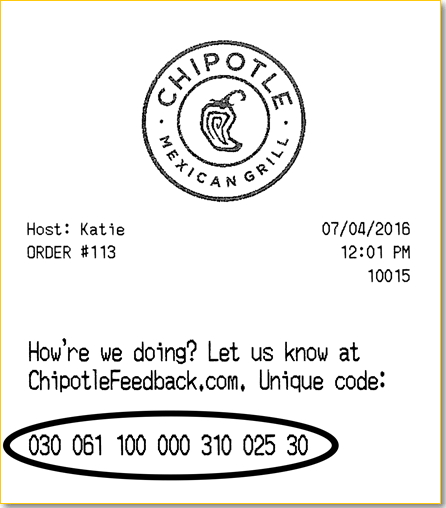 chipotle survey receipt