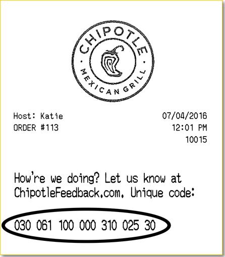 chipotle survey receipt