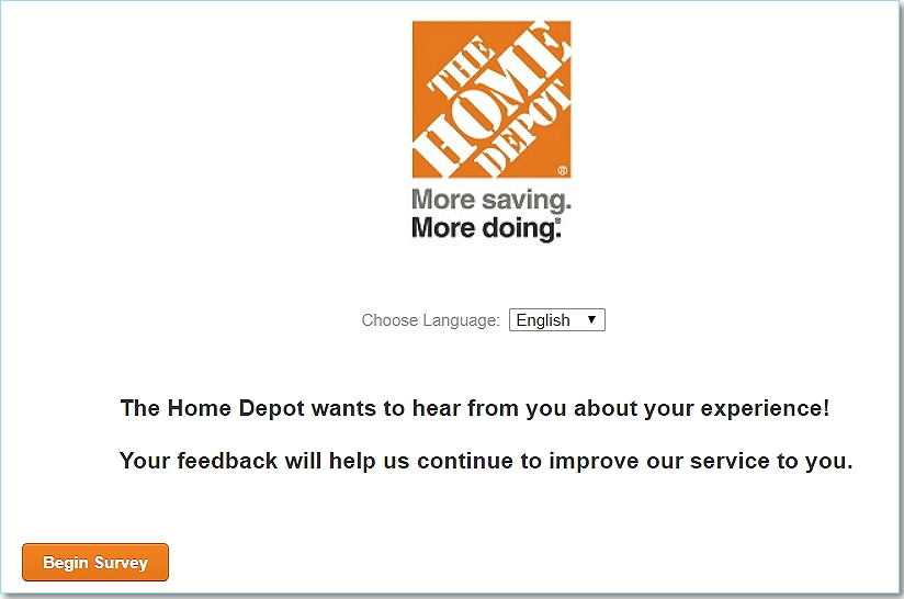 www.homedepot.com/survey homepage